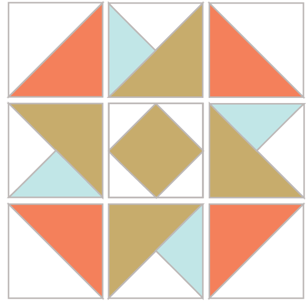 Illustration of the Exploded version of the Air Castle Quilt Block