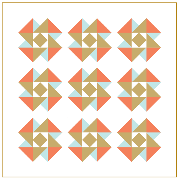 Air Castle Quilt with Dark Quilt Binding which FRAMES design