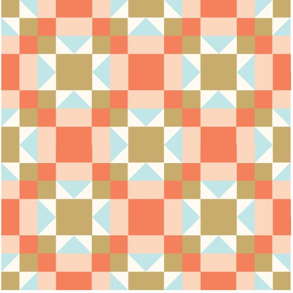 Illustration of the Arkansas CrossroADS quilt block arranged in alternating sets