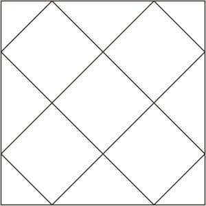 Outlined version of Double Cross Quilt Block for coloring