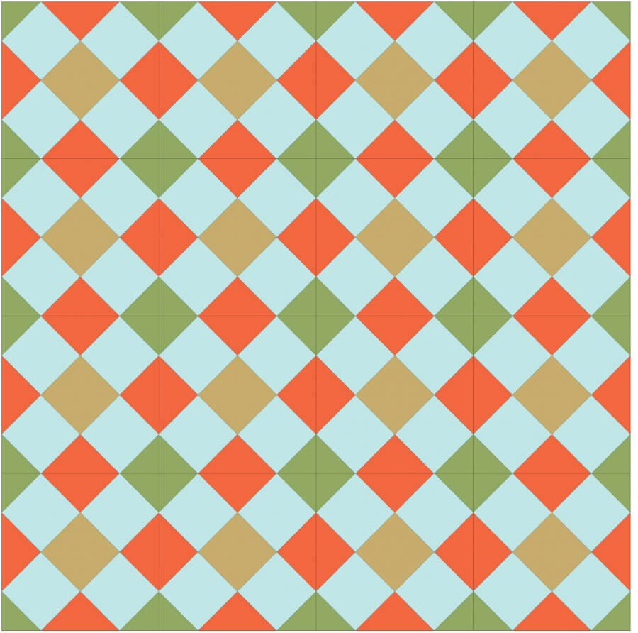 Illustration showing a group of Double Cross Quilt Blocks