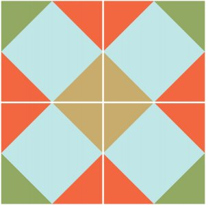 Illustration of the Exploded version of the Double Cross Quilt Block
