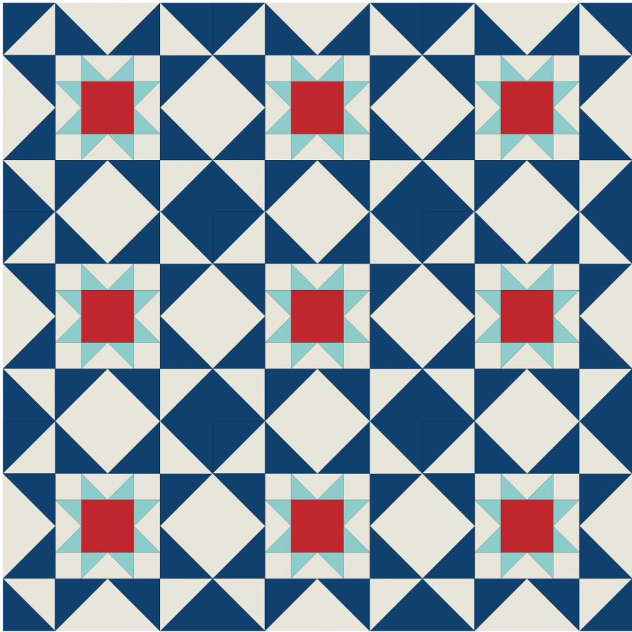Illustration of a group of Eight Hands Around Quilt Block