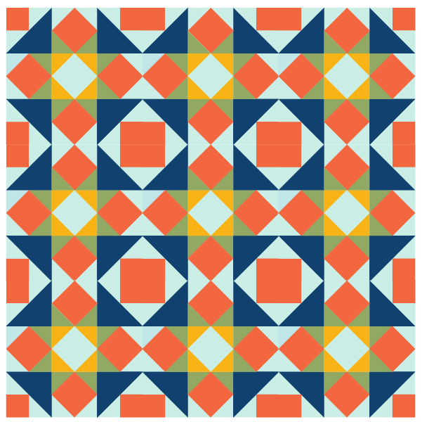 Illustration of a group of Five Spot Quilt Blocks