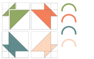 Illustration of the Exploded version of the Four Little Baskets Quilt Block