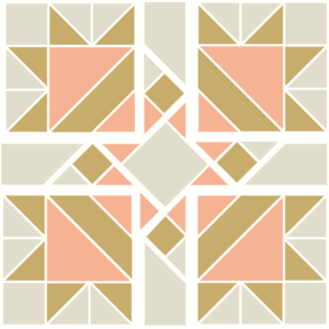 Illustration of Exploded version of the Four Queens Quilt Block