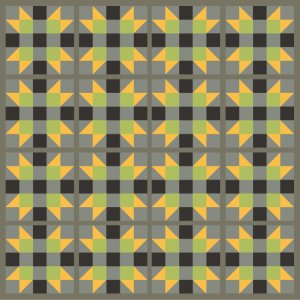 Illustration of A grouping of Four X Star Quilt Blocks with Gray sashing
