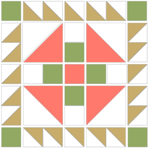 Image of Exploded version of the Prickly Pear Quilt Block Pattern