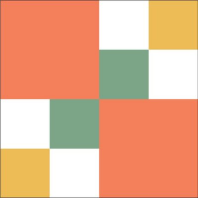 Illustration of the Autumn Tints Quilt Block