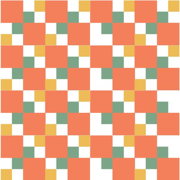 Illustration of the Autumn Tints Quilt block Grouping