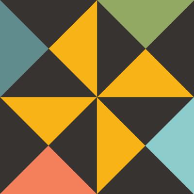 Illustration of Multi-color Big Dipper Quilt Block