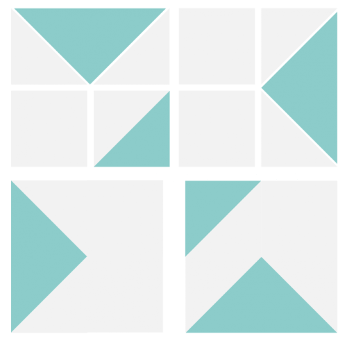 Illustration of the Exploded view of the Blockade Quilt Block
