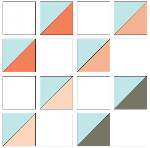 Illustration of the Exploded version of Cotton Reels Quilt Block