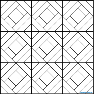 Outlined drawing of the Fancy Strip Quilt Block grouping