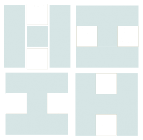 Illustration of Exploded version of Four H Quilt Block
