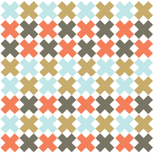 Illustration of a multi colored Four X Quilt
