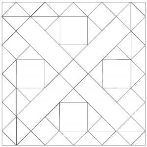 outlined illustration of Grapevine Quilt Block