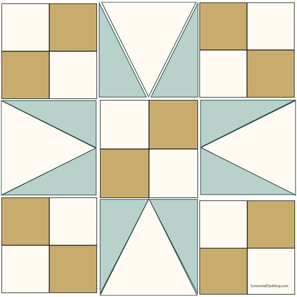 Illustration of the Exploded version of 54-40 or Fight Quilt Block
