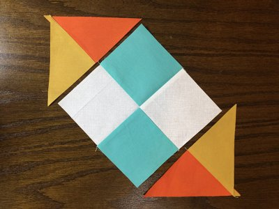 Image - Opposite corners are sewn first on the Checkerboard Quilt Block Pattern