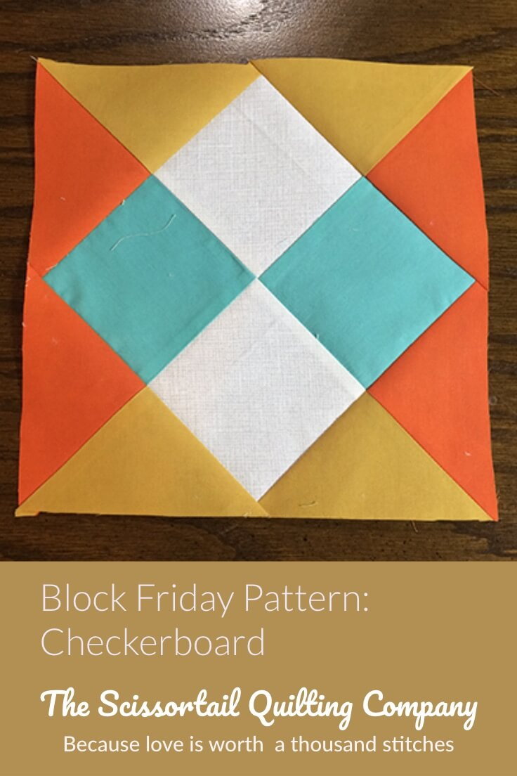 Picture of Checkerboard Quilt Block Pattern with Text overlay - Free download