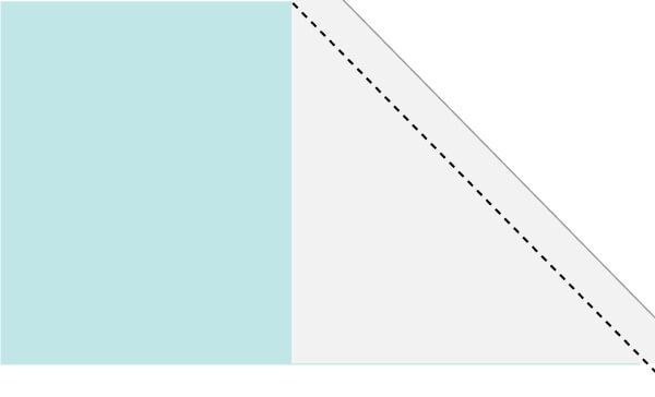 Illustration of step 2 making Candy Stripe quilt block units showing how unit is trimmed.