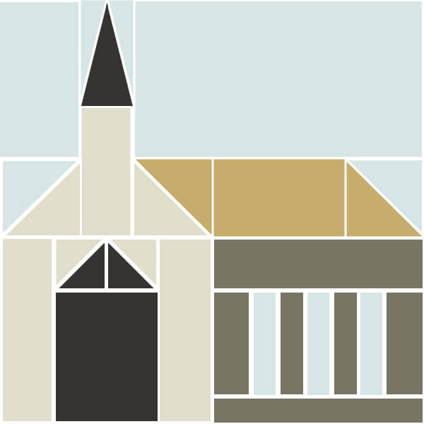 Illustration of Church Building Quilt Block