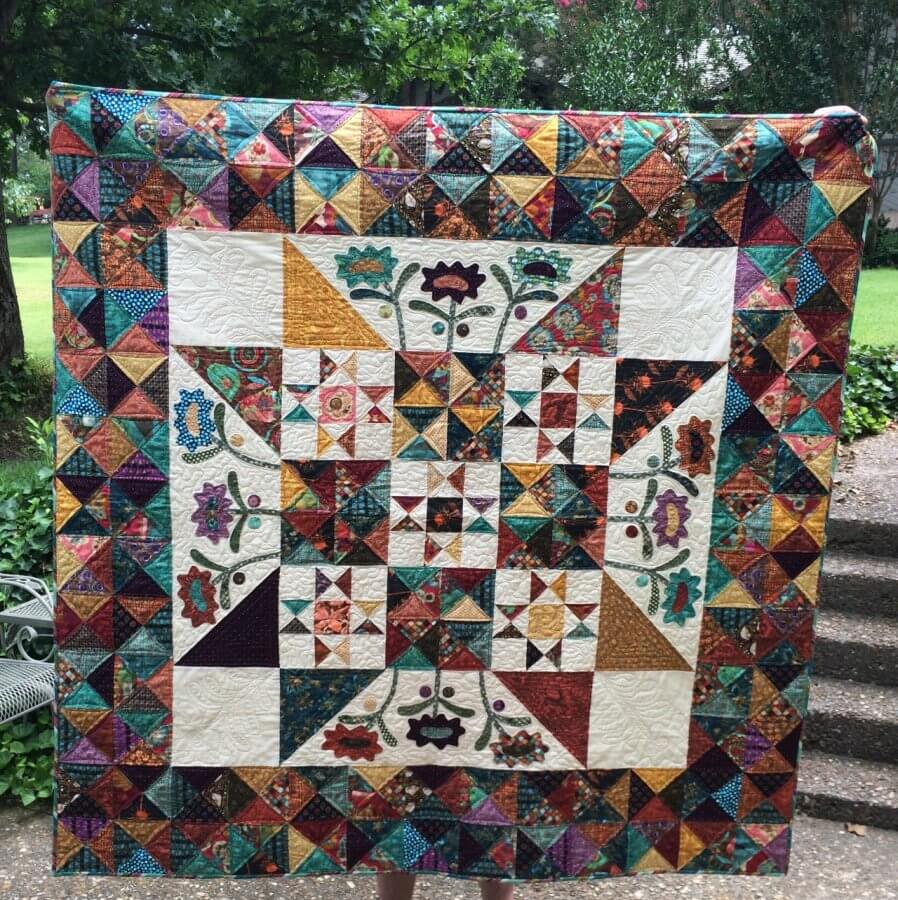 Finished Late Bloomer Quilt Pattern designed by Kim Diehl