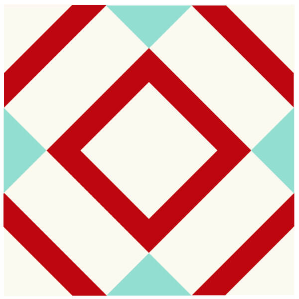 Illustration of Mingle Quilt Block in Red and Aqua