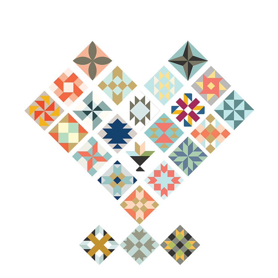 Illustration of the i Heart Quilt Design Pattern
