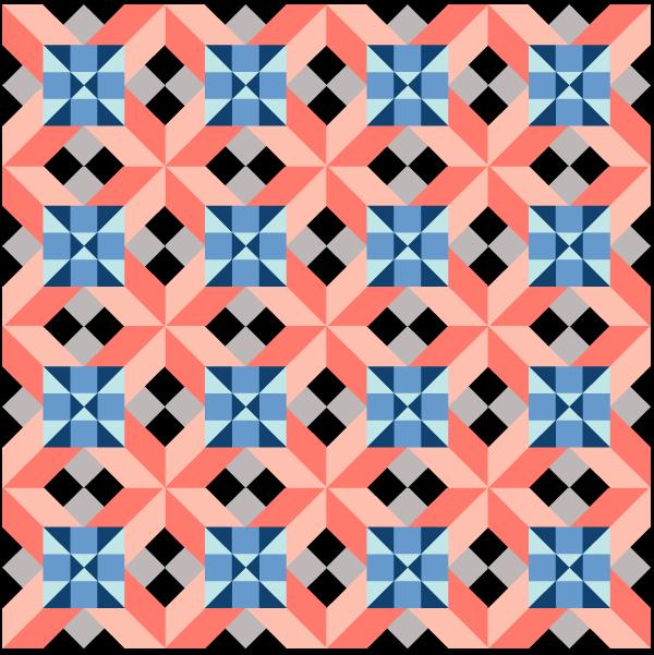 Illustration of a Grouping of Alaska Quilt Blocks