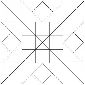 Outlined illustration of the Alaska Quilt Block