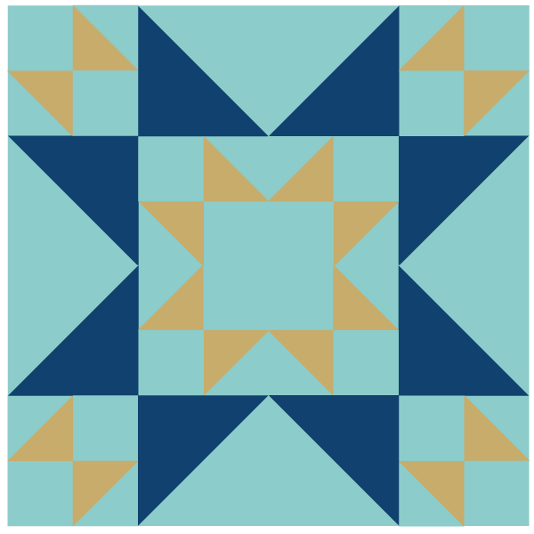 Grouping of four Double X Quilt Blocks, set in an alternating pattern