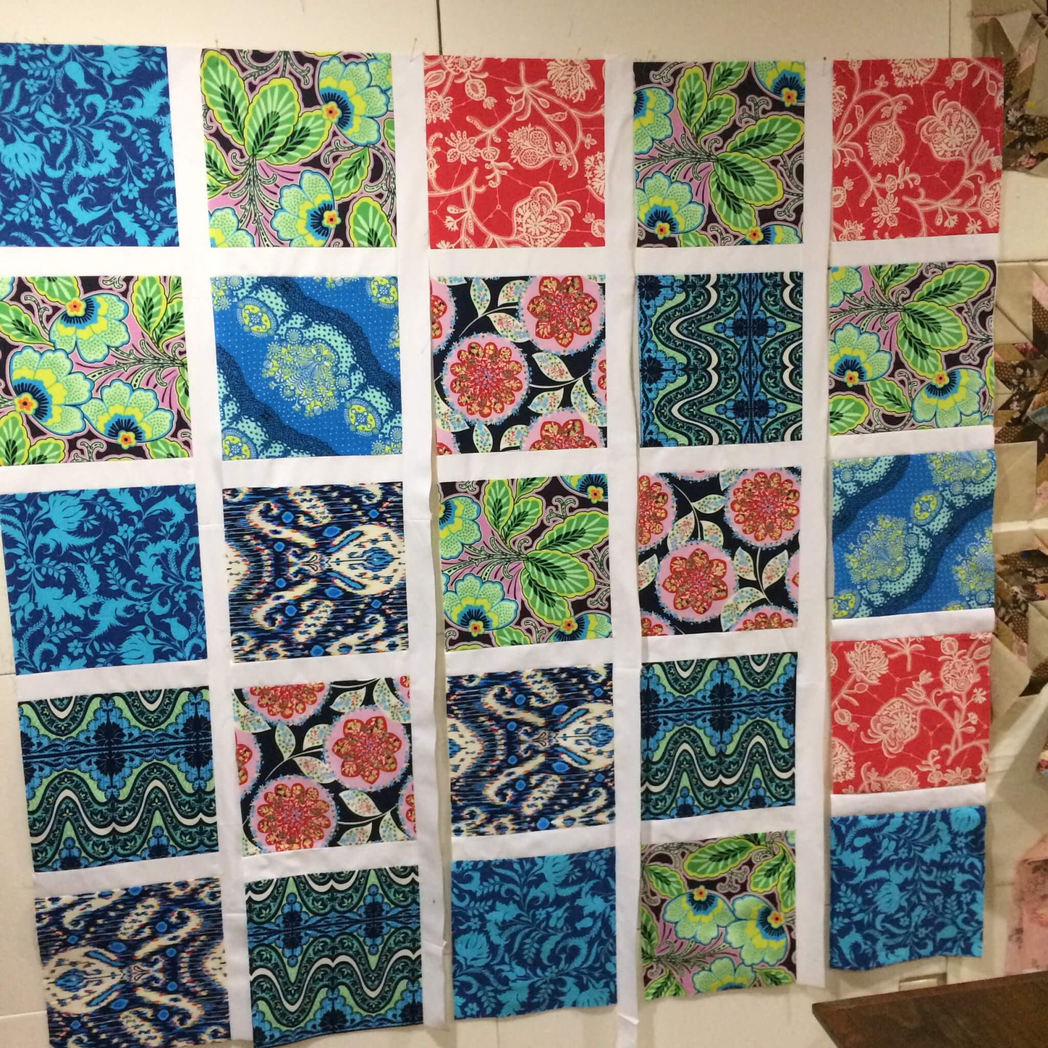 Quilt with large blocks on the design wall