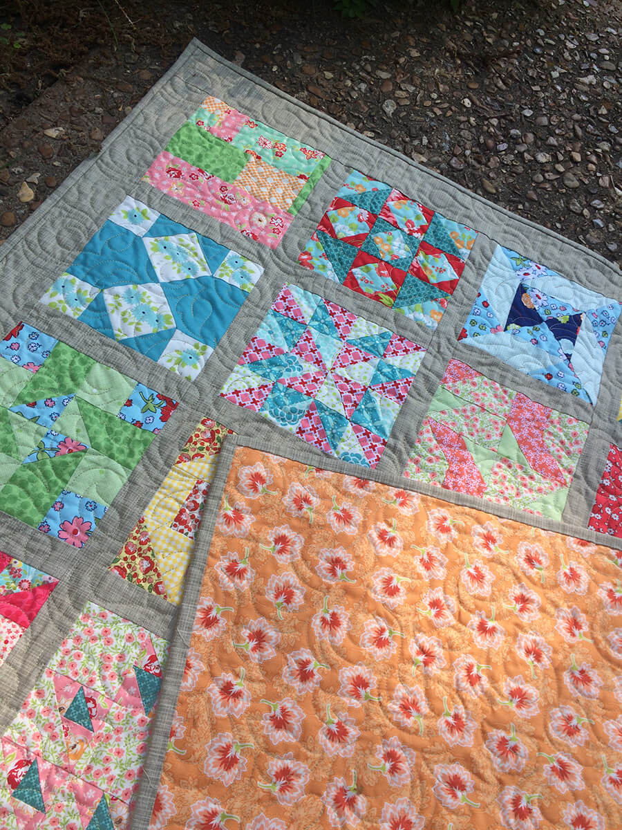 1930s Farmer's Wife Sampler Baby Quilt - showing backing and binding