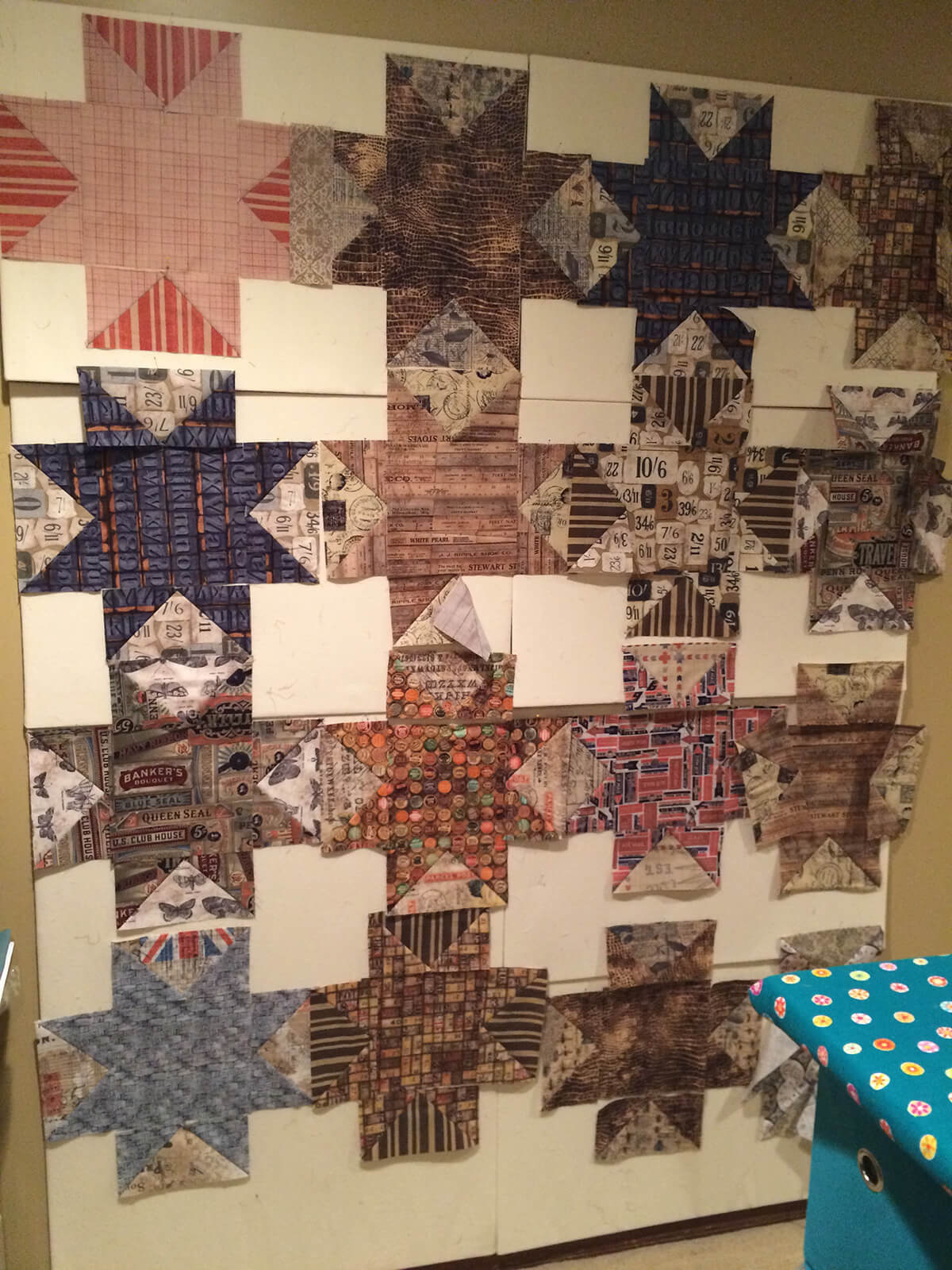 In progess. Blocks on design wall for Variable Star quilt.