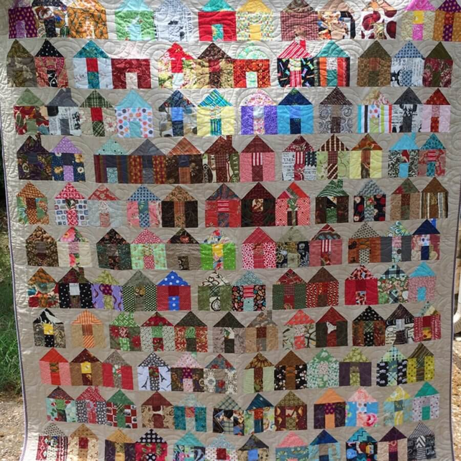 Photo of Village Quilt - a pattern with lots of house quilt blocks