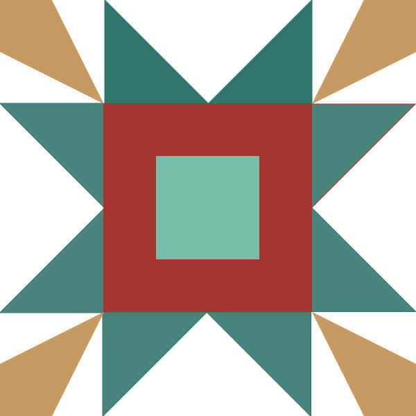 Illustration of a star quilt block using corner beam units.