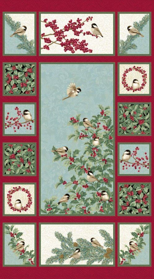 Photo of Panel from Chickadees & Berries fabric collection by Jackie Robinson for Benartex