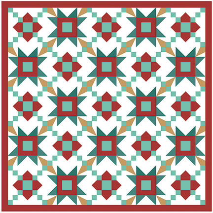 Illustration of the layout for the JOlly Stars Quilt Pattern