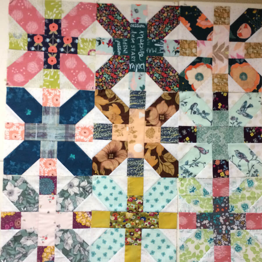 Photo of a grouping of X Plus Quilt Blocks