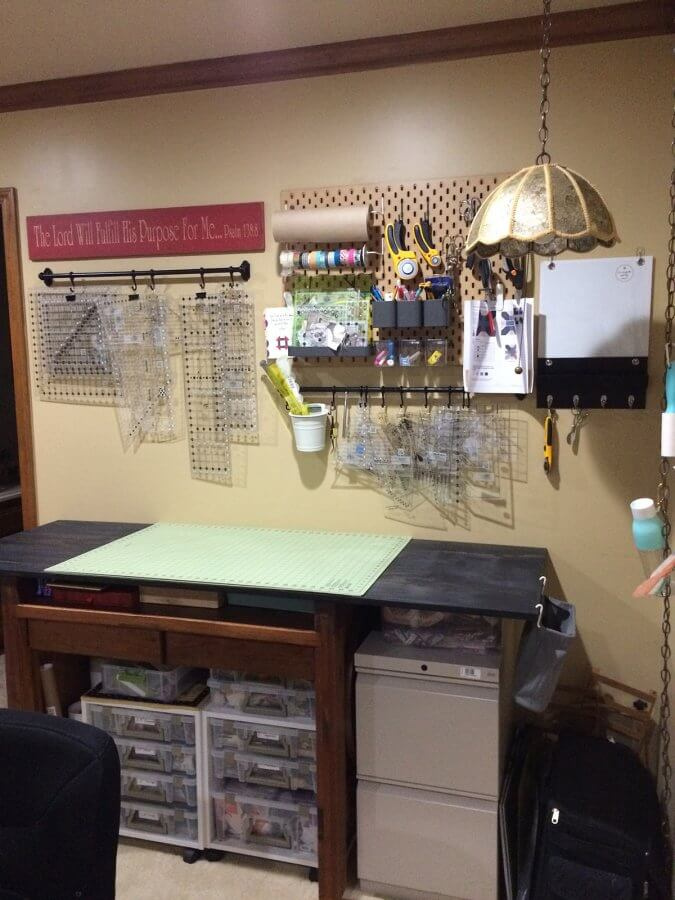 Photo of a cutting table in sewing room with no clutter