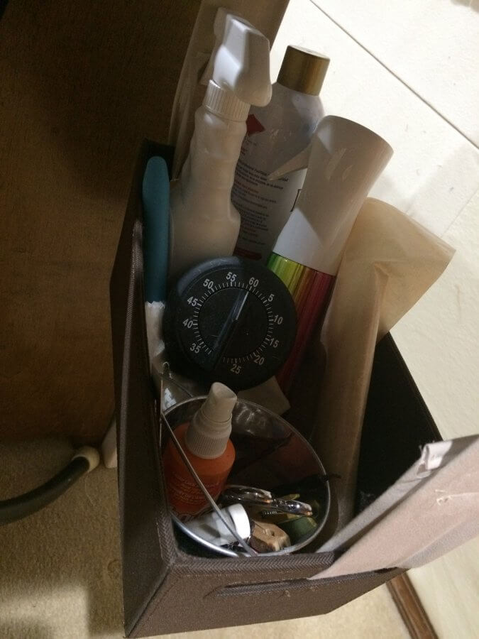 photo of basket with ironing supplies
