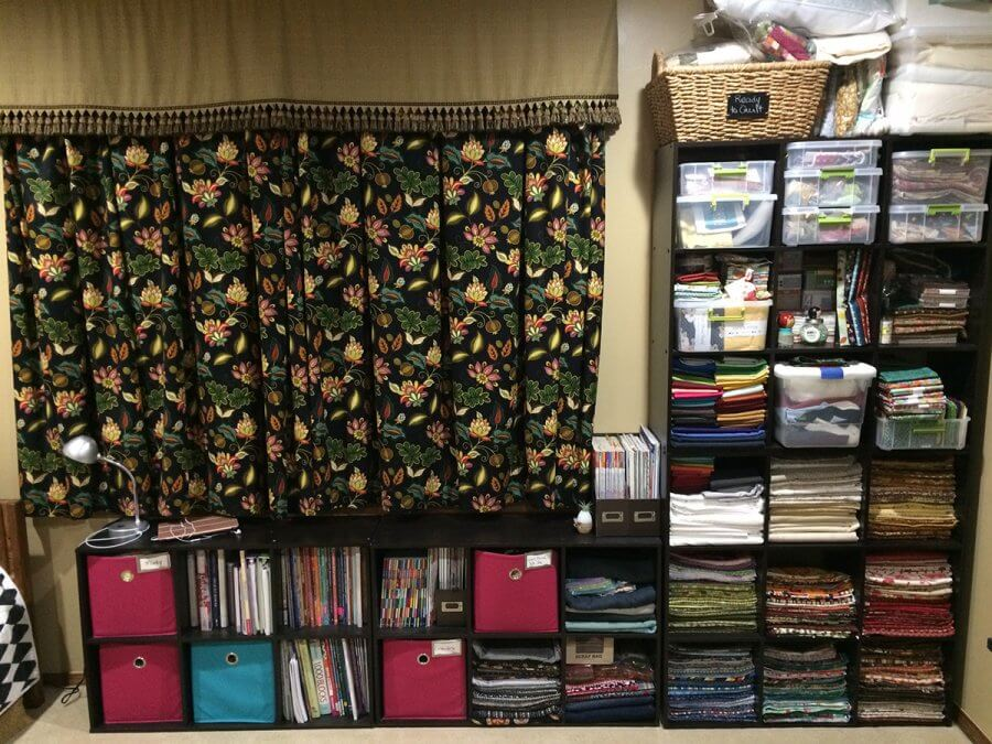 Photo of storage wall in sewing room