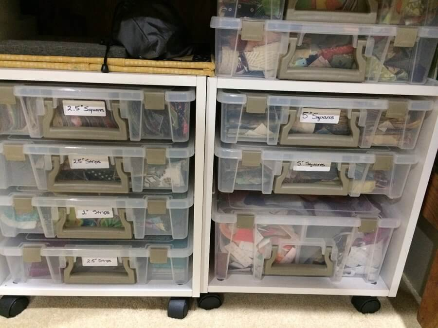 Photo of Artbin Storage Cubes holding scraps of fabric