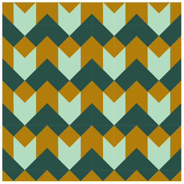 Grouping of tea leaf quilt blocks in straight row layout