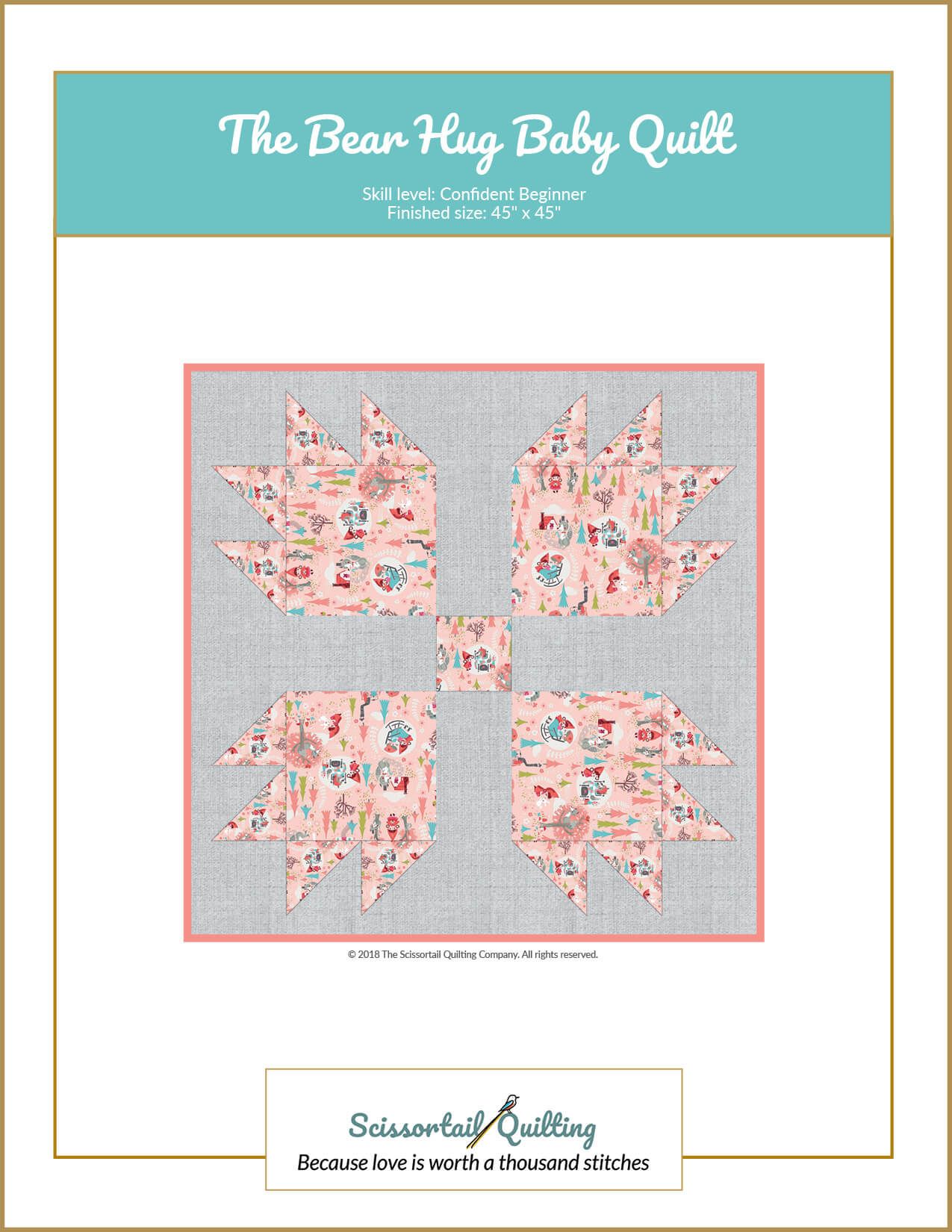 Image of cover for downloadable pattern named Bear Hug Baby Quilt