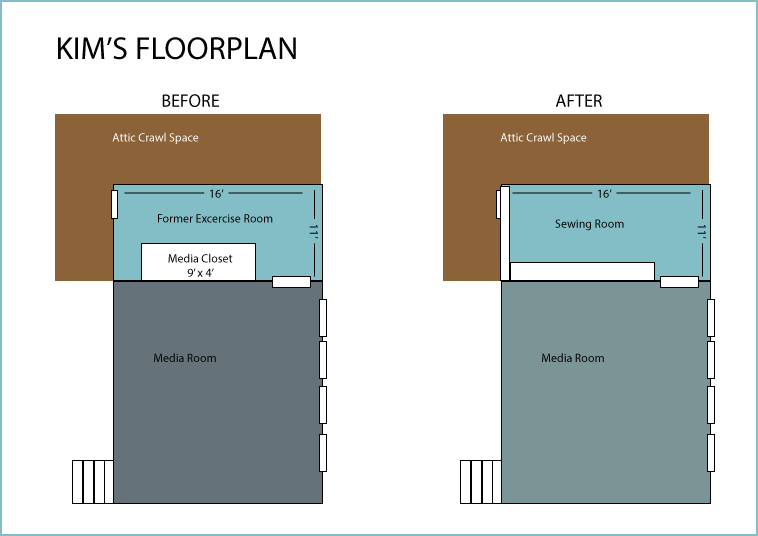 Illustration of floor plan before and after the sewing room remodel