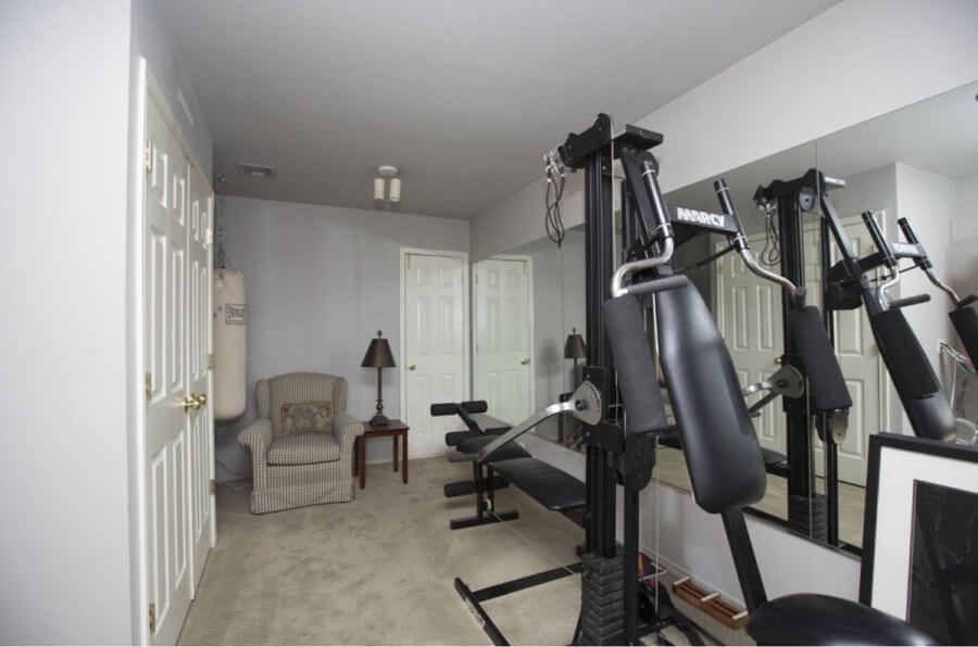 Photo of an exercise room that was later converted into a sewing room