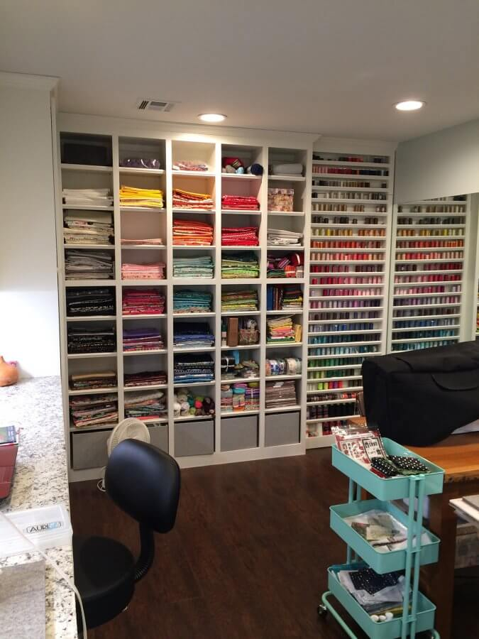Photo of fabric storage area in sewing room