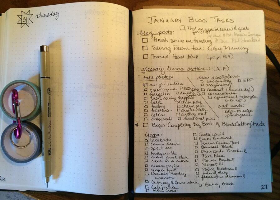 photo of a journal page with task list for January 2019